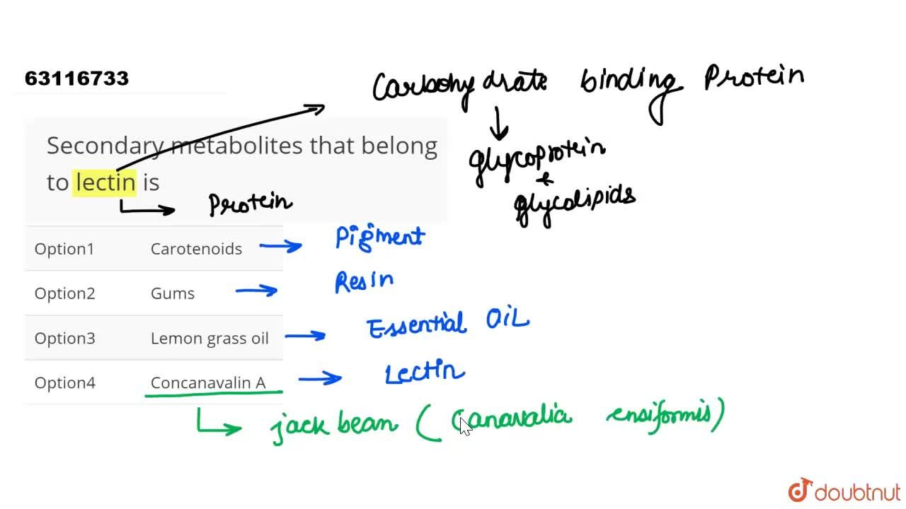 Solution for Secondary metabolites that belong to lectin is
