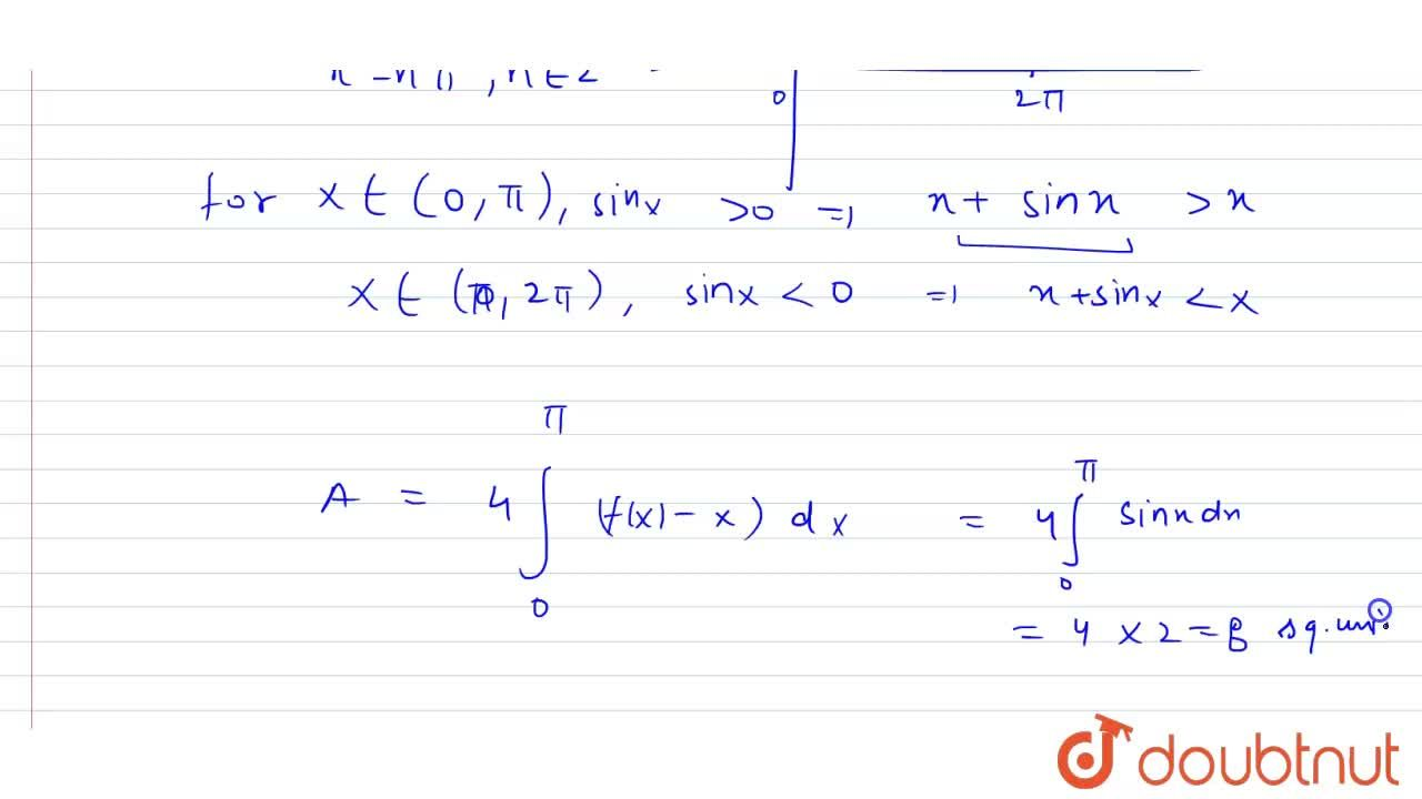 Solution for Find the area bounded  by the curve f(x)=x+ sin x