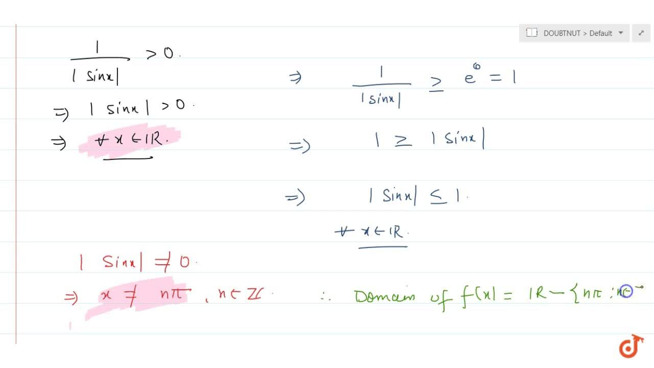 Solution for  The domain of f(x) =sqrt(log(1, sin x )) is (i