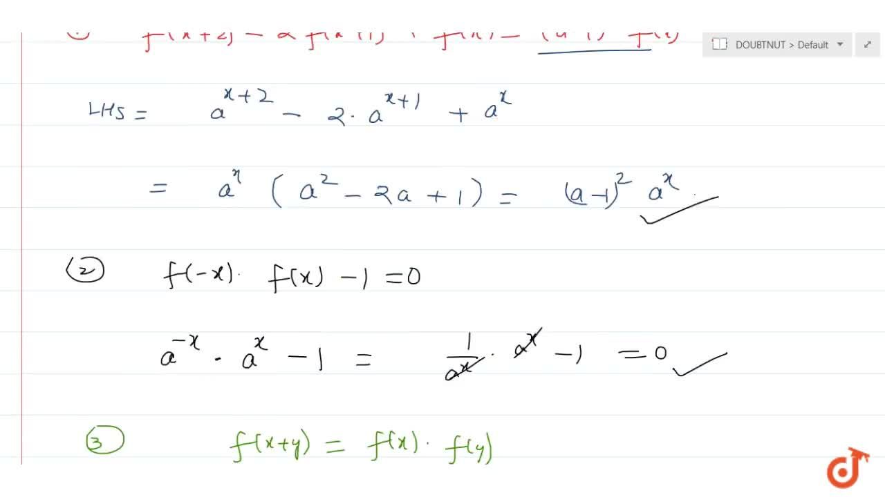 Solution for    If f(x)=a^x, which of the following equalitie