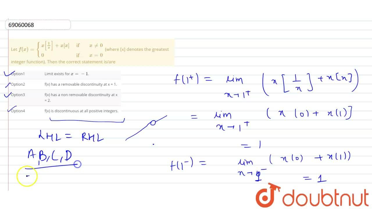Solution for Let f(x)={{:(x[(1),(x)]+x[x],if, x ne0),(0,if,x=0