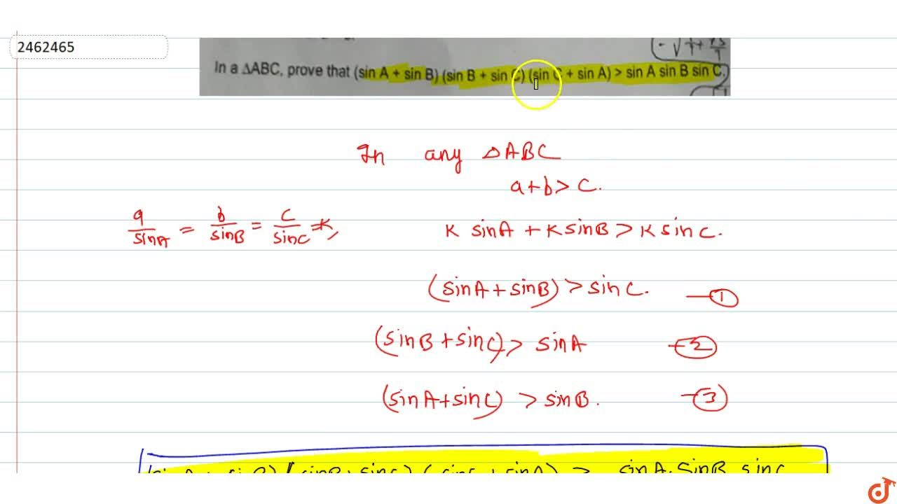 Solution for In a Delta ABC, prove that (sinA+sinB)(sinB+sin