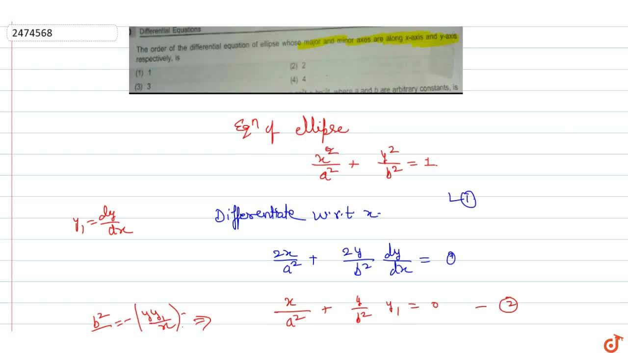 Solution for The order of the differential equation of ellipse