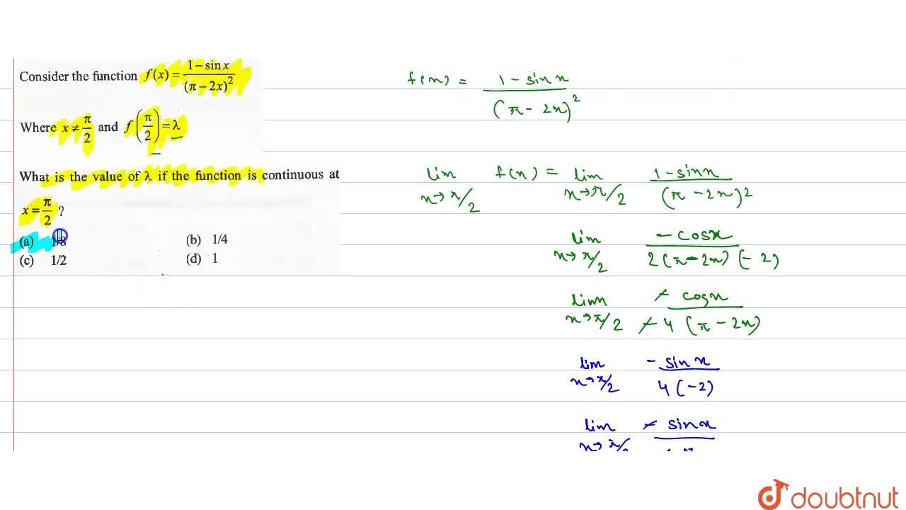 Solution for  What is the value of lamda if the function is c