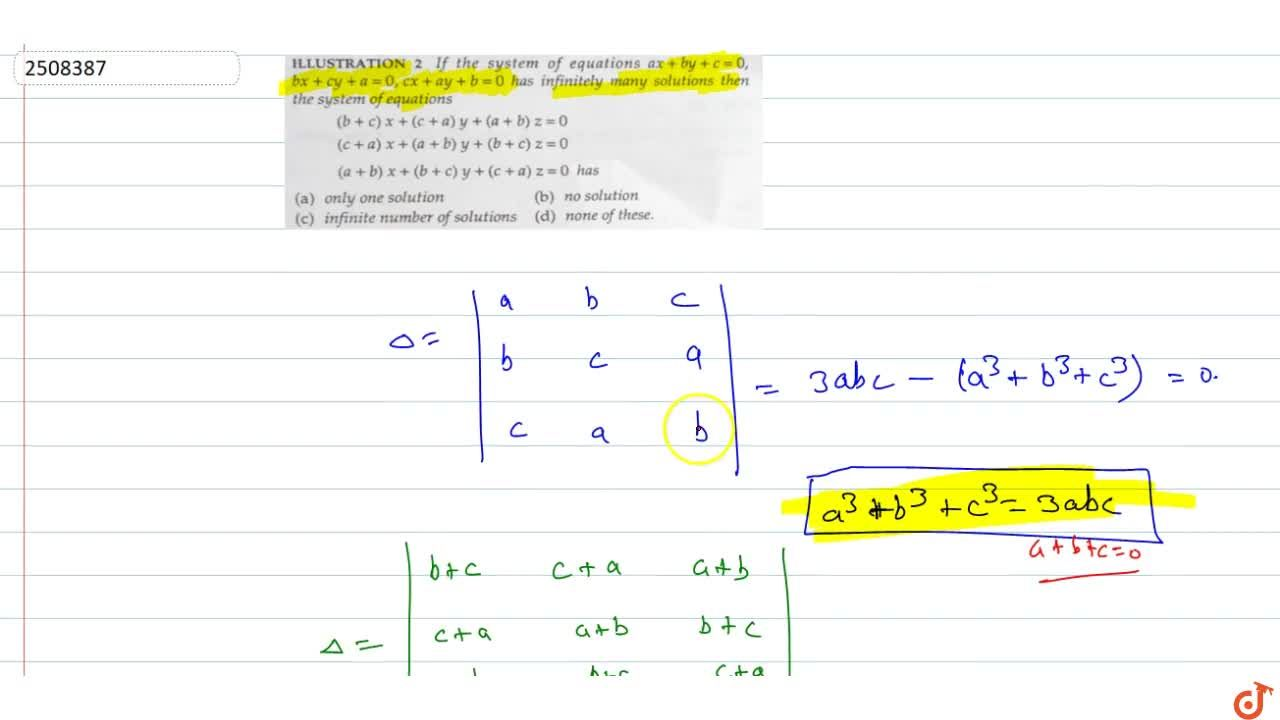 Solution for  If the system of equations ax + by + c = 0,bx +