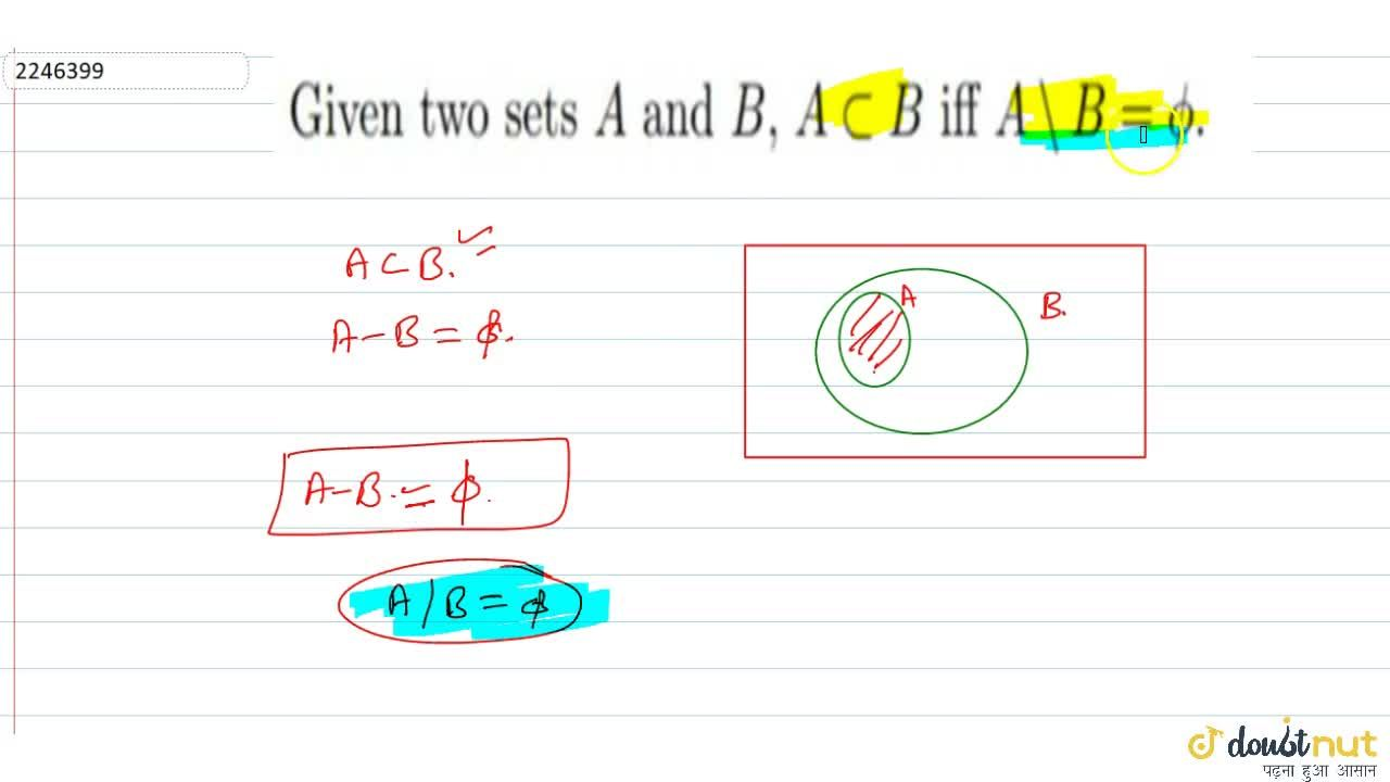 Solution for Given two sets A and B, A sub B iff A \ B = phi
