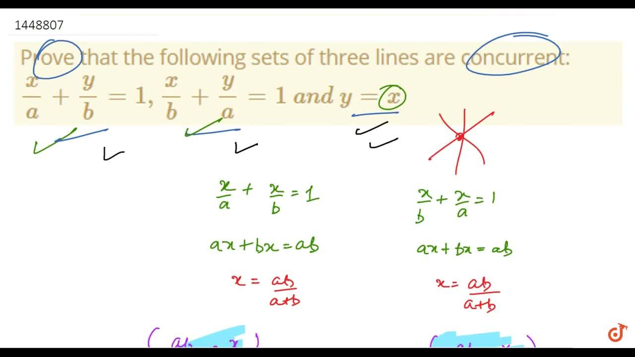 Solution for Prove that the following sets of three lines are c