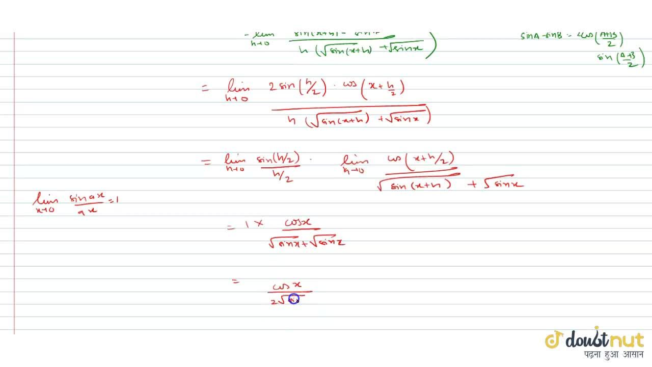 Using the definition of derivative find the derivative of  sqrt(sin x)