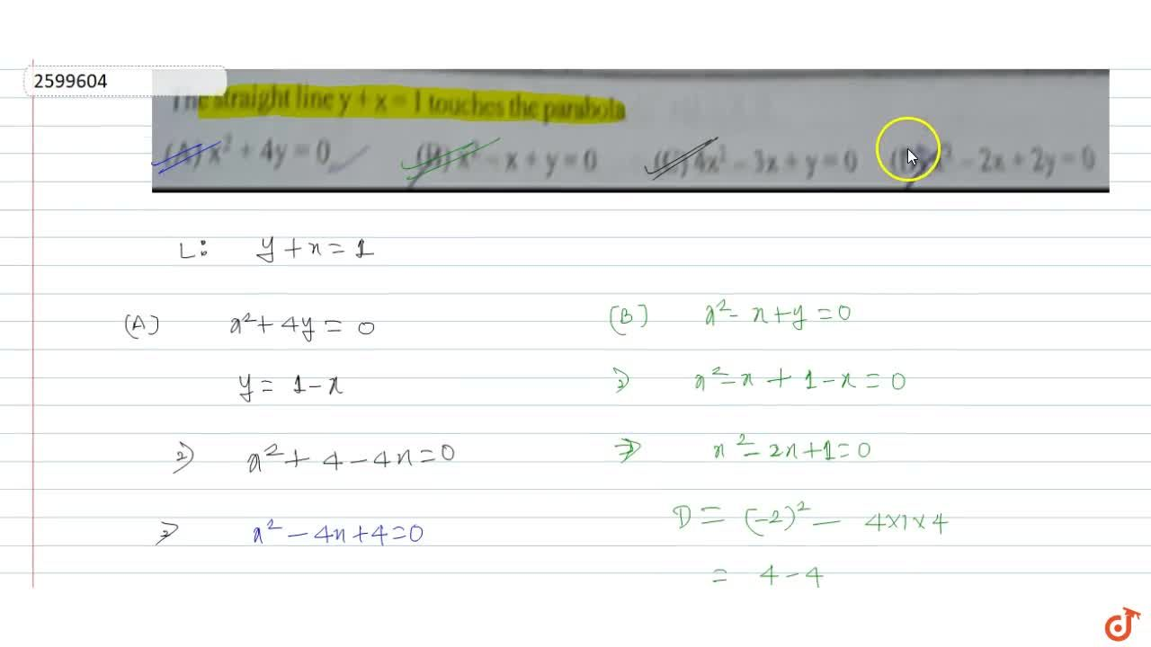 Solution for The straight line y+x=1 touches the parabola (A)