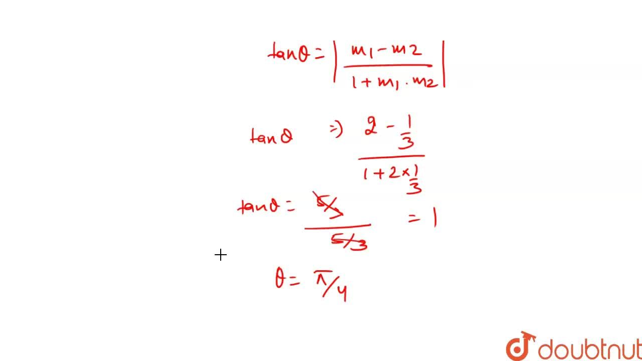 Solution for The angle between the pair of lines represented by