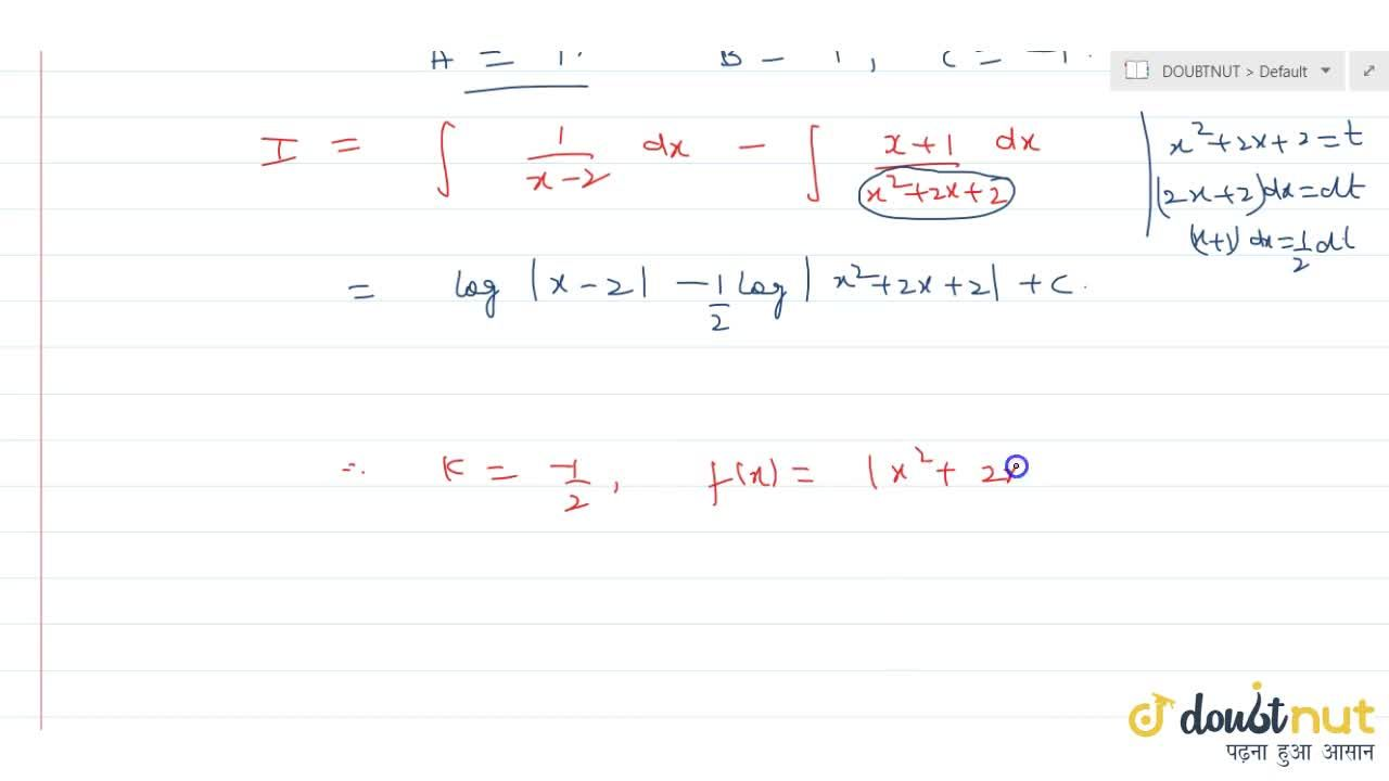Solution for  If int (3x+4),(x^3-2x-4) \ dx = log x-2  + k log