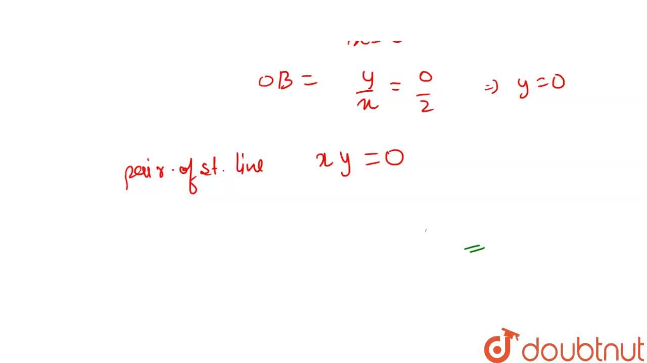 The equation of pair of straight lines joining the point of intersection of the curve x^2+y^2=4 and y-x=2 to the origin , is