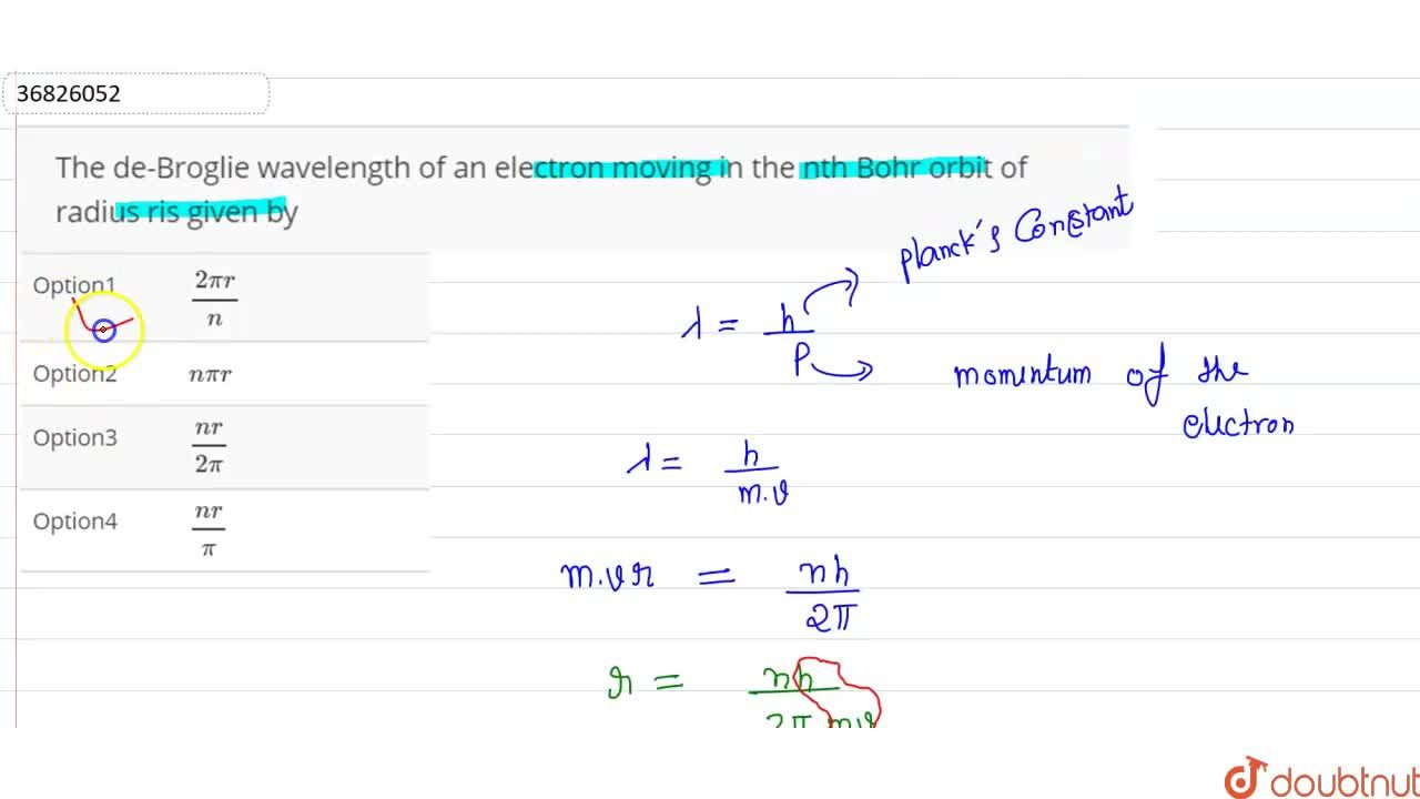 Solution for The de-Broglie wavelength of an electron moving in