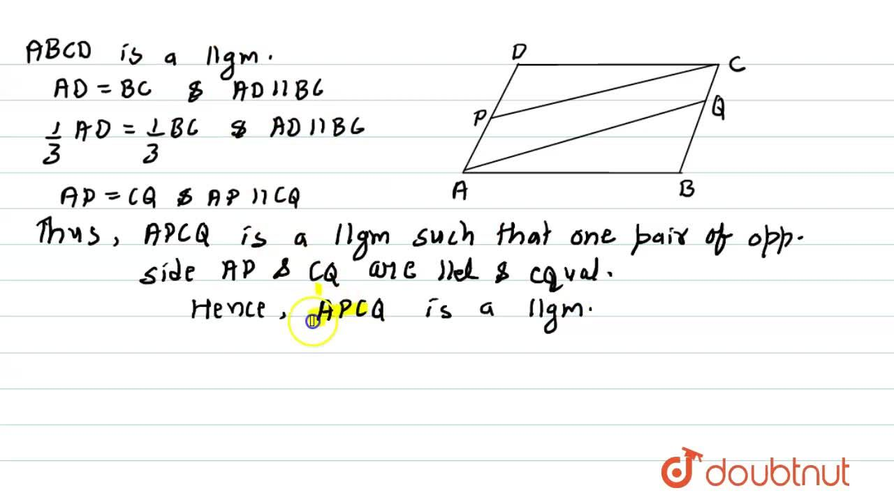 Solution for A B C D is a parallelogram. P is a point on A
