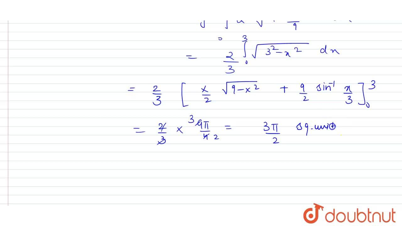 Find the area of the region bounded by the ellipse (x^(2)),(9)+(y^(2)),(4)=1 in fourth quadrant.
