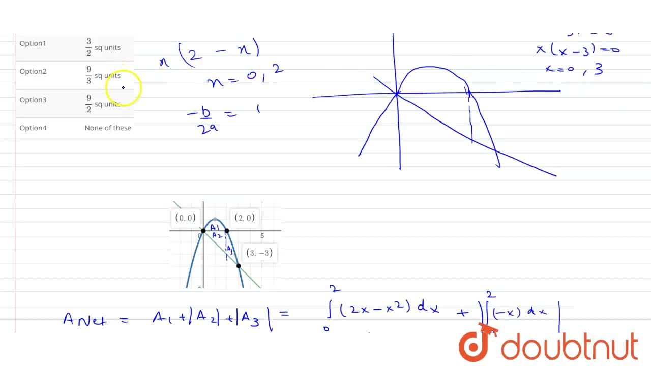 The area bounded by the curve y = 2x - x^(2) and the line y = - x is