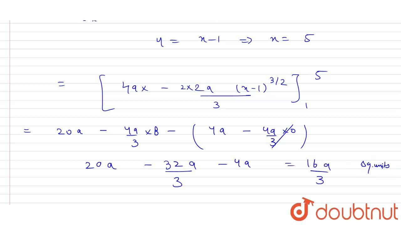 The area bounded by the curves y^(2)=4a^(2)(x-1) and lines x = 1 and y = 4a is