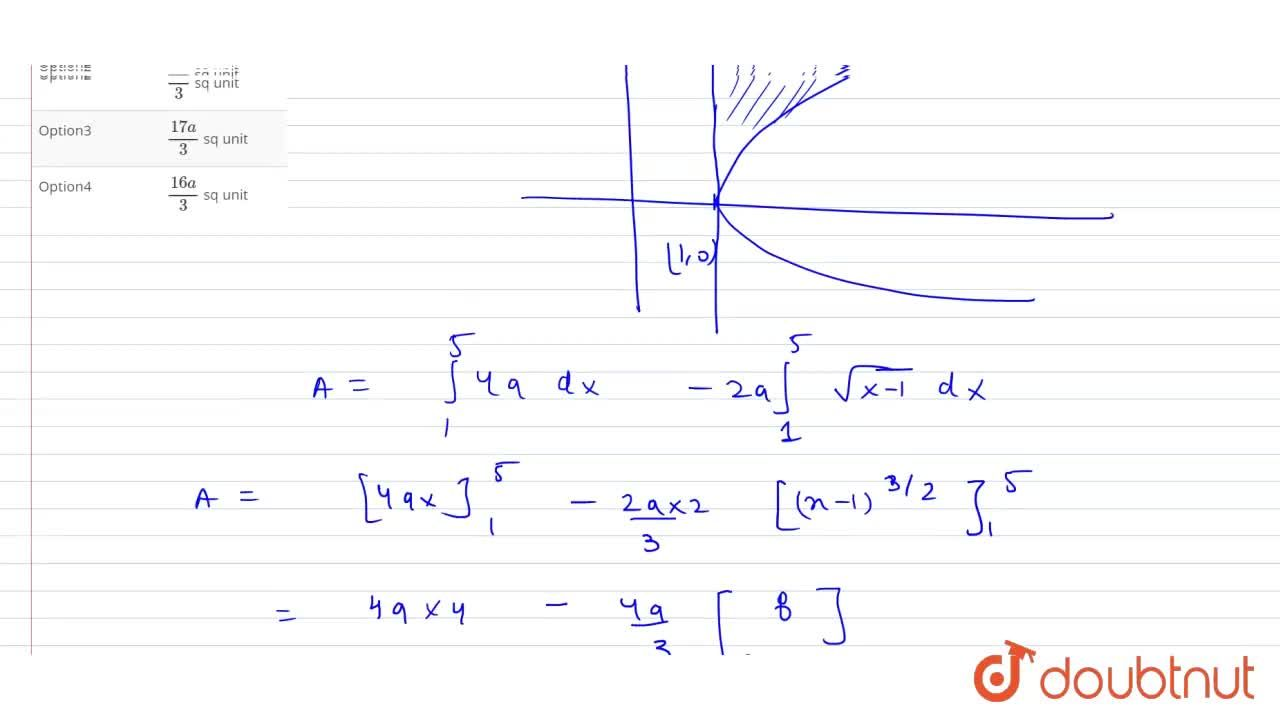 The area of the region bounded by the curves y^(2)=4a^(2)(x-1) and the lines x = 1 and y = 4a, is