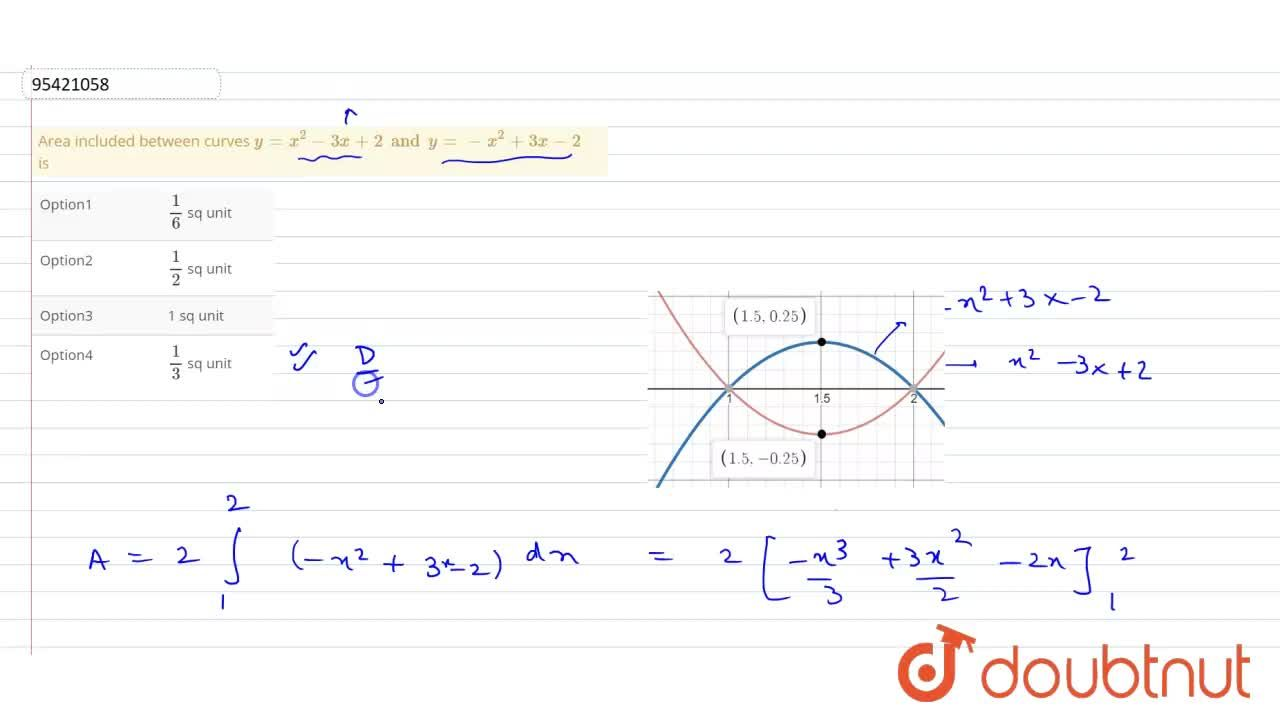 Solution for Area included between curves y=x^(2)-3x+2 and y=-