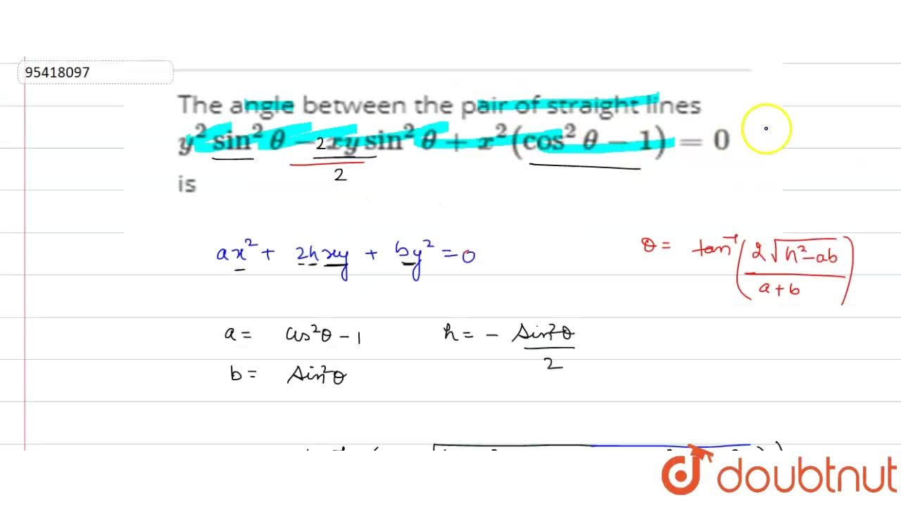 Solution for The angle between the pair of straight lines y^(2
