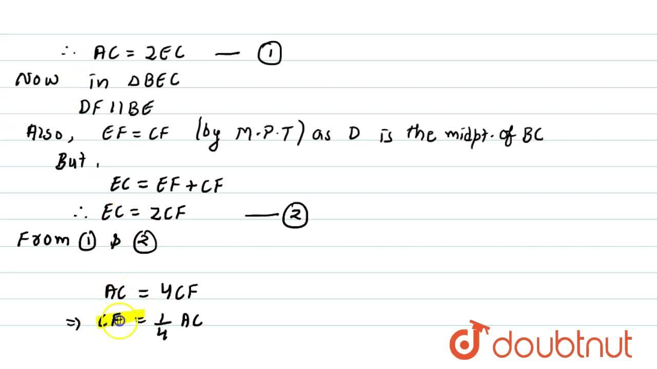 Solution for In Figure, A D\ a n d\ B E are medians of  A B