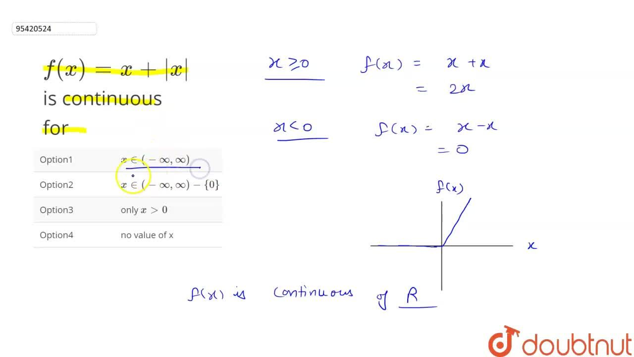 f(x)=x+|x| is continuous for