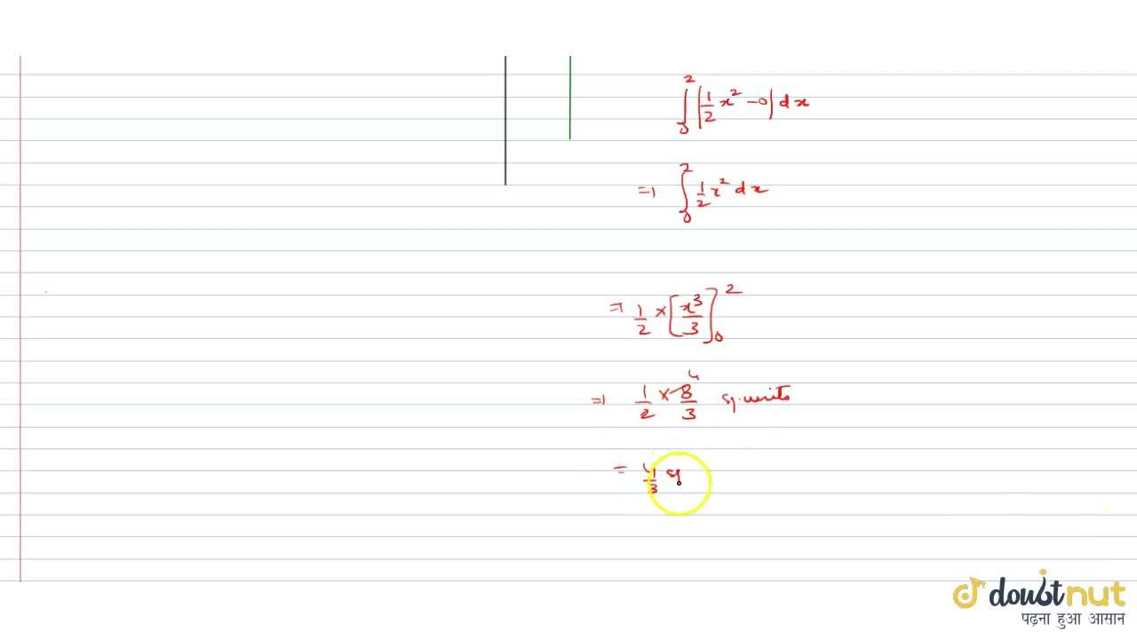 Solution for The area bounded by the curve y = (1),(2)x^(2),