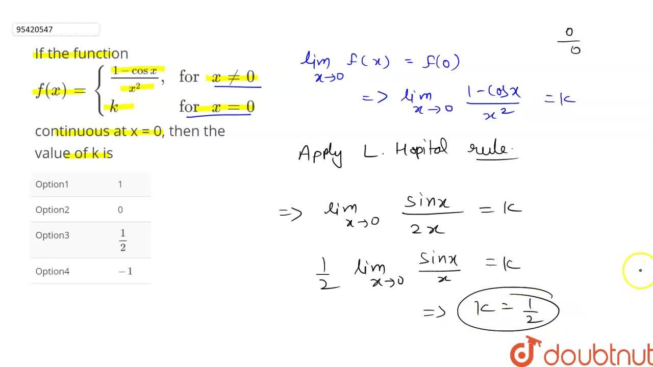 """Solution for If the function  f(x)={((1-cosx),(x^(2))"""","""",""""for"""