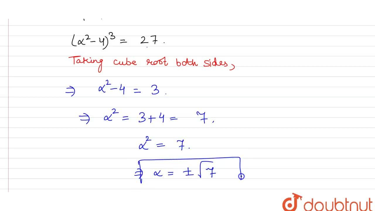 Solution for If A=[(alpha, 2),(2, alpha)] and |A^(3)|=27 th