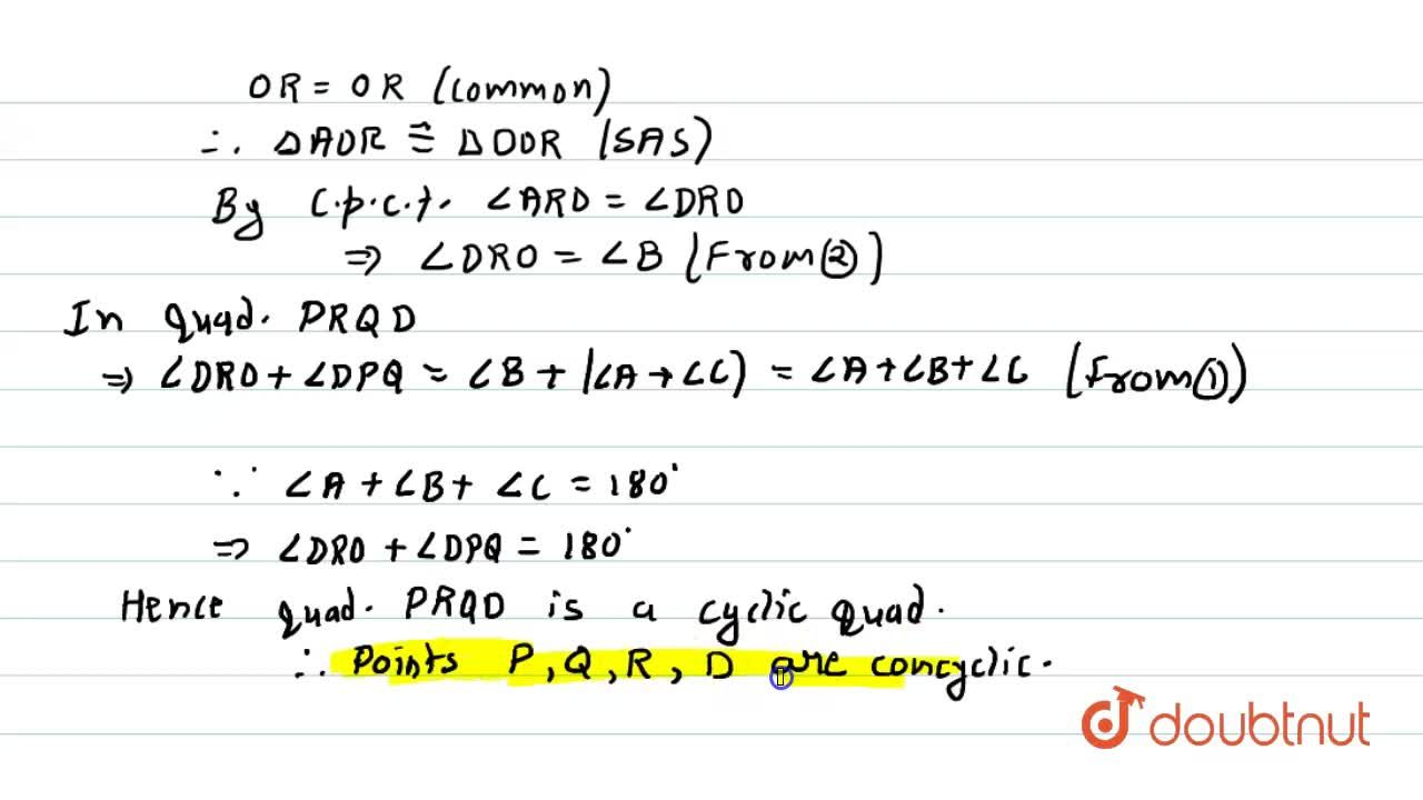 Solution for P ,\ Q\ a n d\ R are, respectively, the   mid po