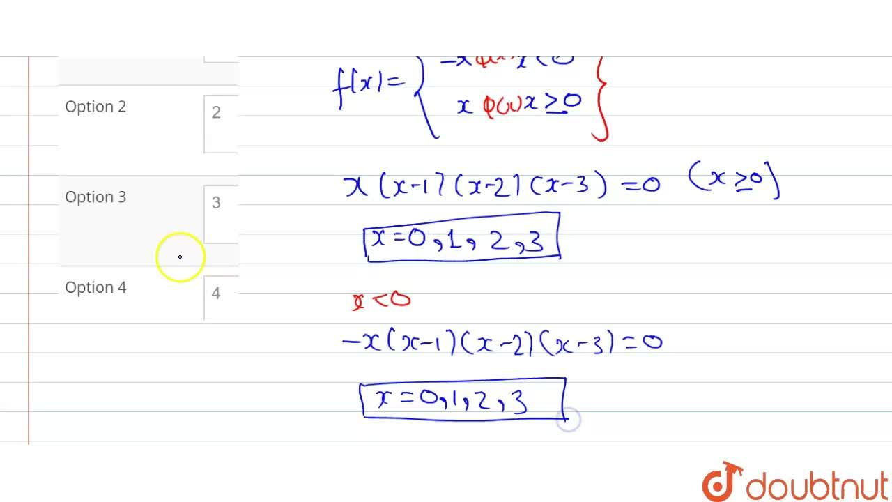 Solution for The number of critical points of  <br> f(x)= x (x