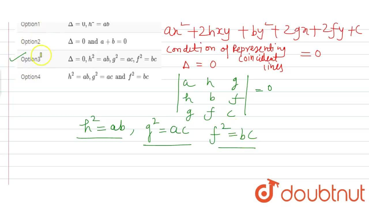 Solution for The condition of representing the coincident lines