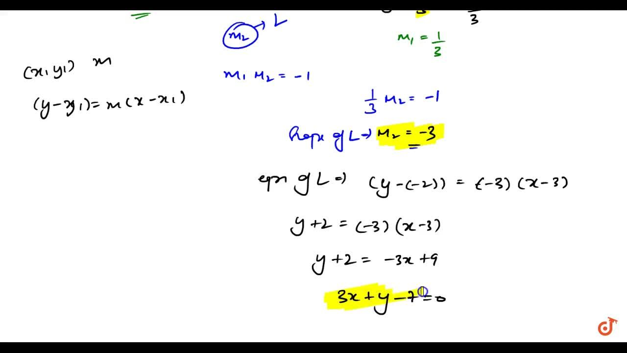 Solution for find the equation of a line   passing through (3,