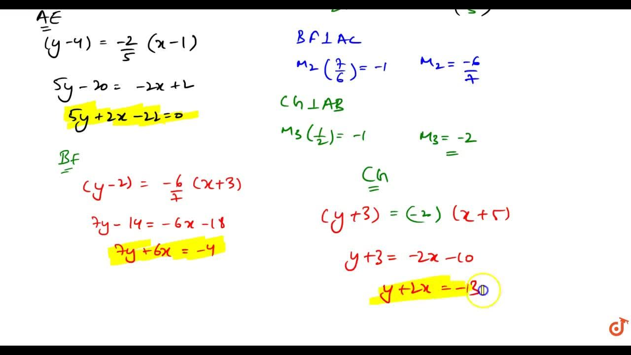"""Solution for Find the equation is of the altitudes of as """"Delt"""