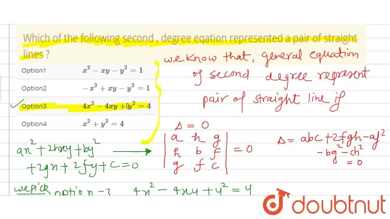 Solution for Which of the following second , degree eqation rep