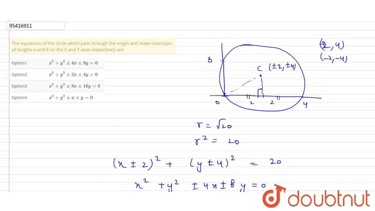 Solution for The equations of the circle which pass through the