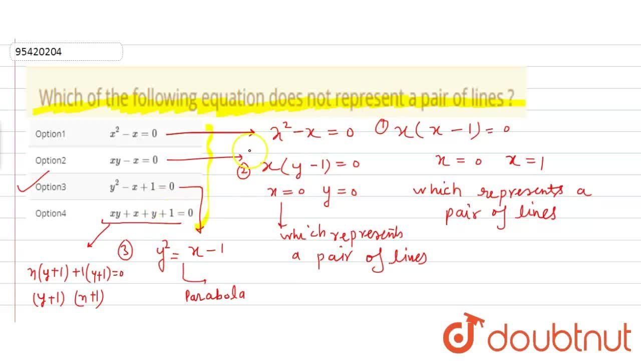 Solution for Which of the following equation does not represent