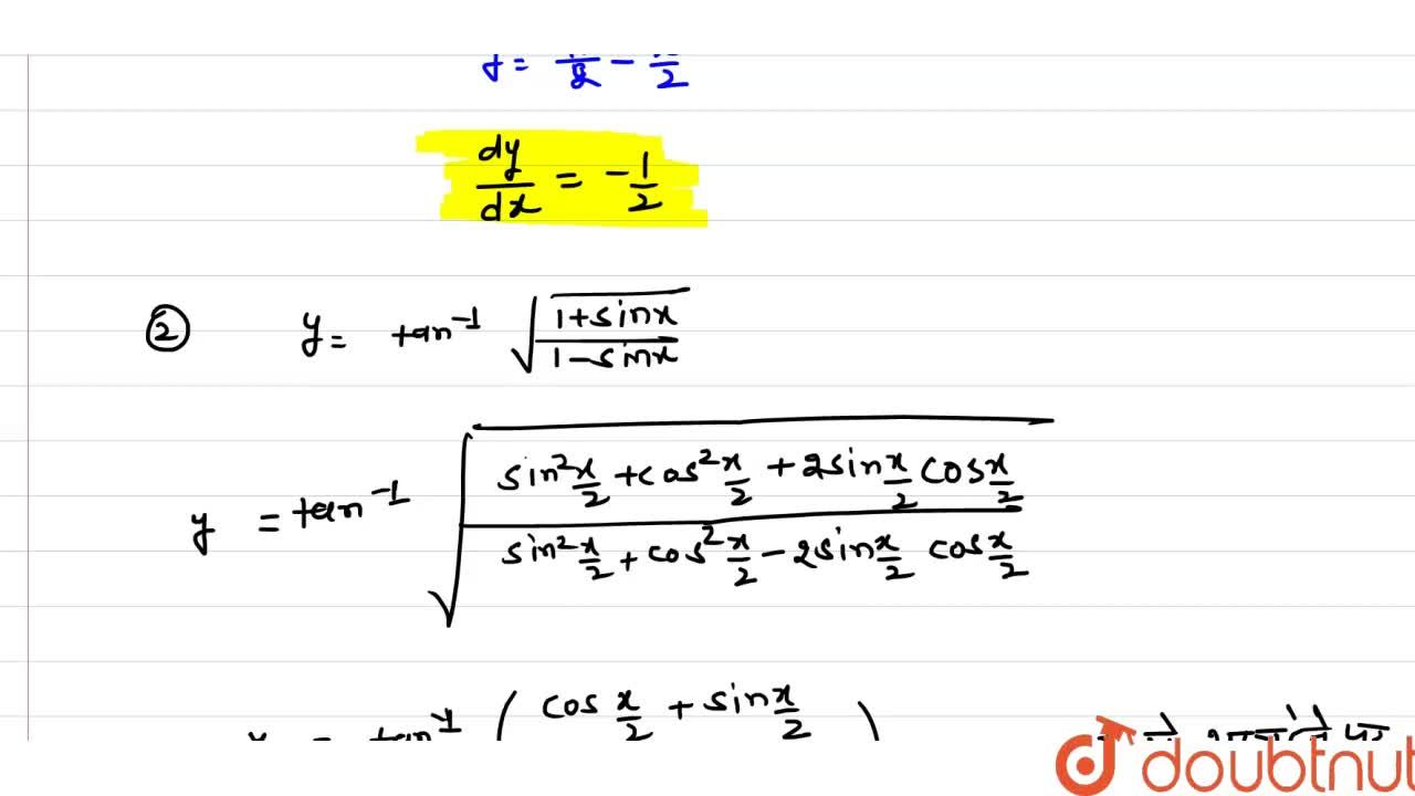 Solution for (dy),(dx)  का मान ज्ञात कीजिए| <br>(i) y=tan ^(