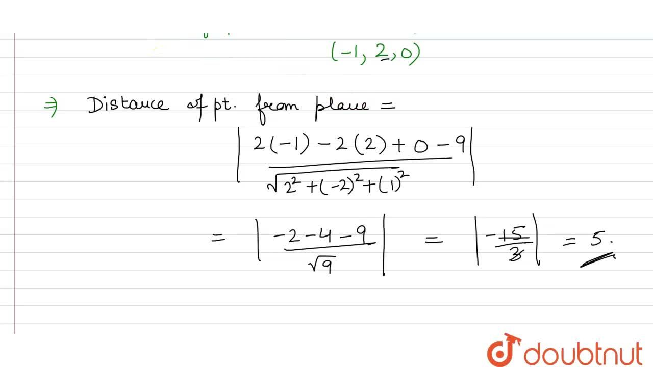 Solution for A plane passes through the point (1,-2,3) and is p