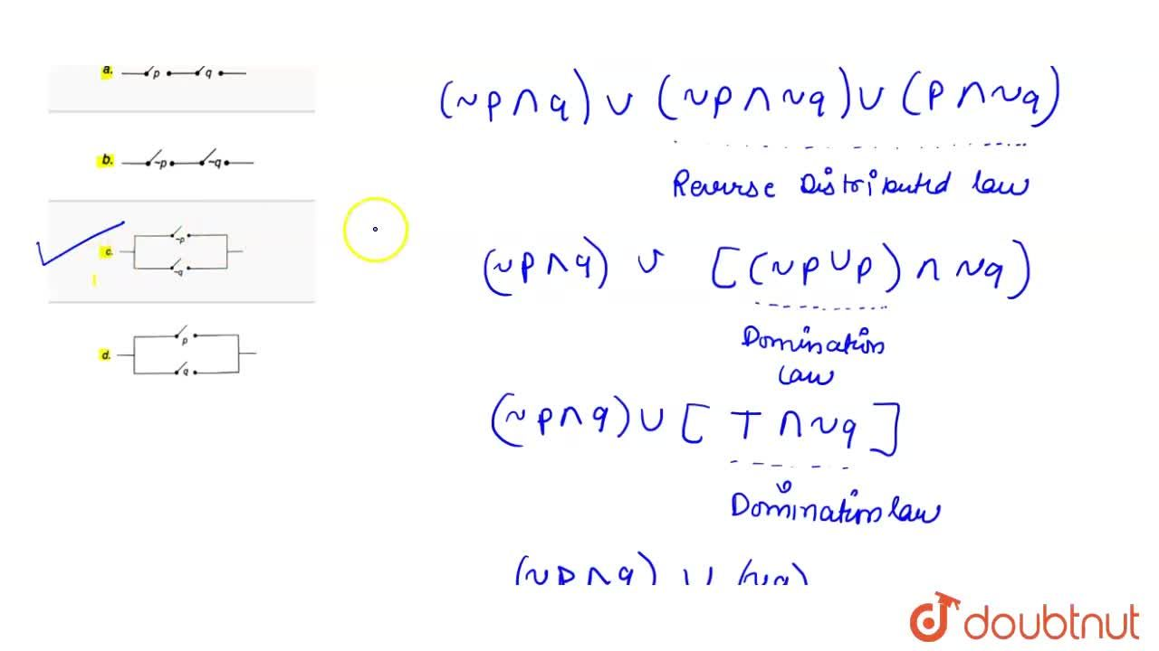 Solution for Quivalent circuit for the logical expression (~p