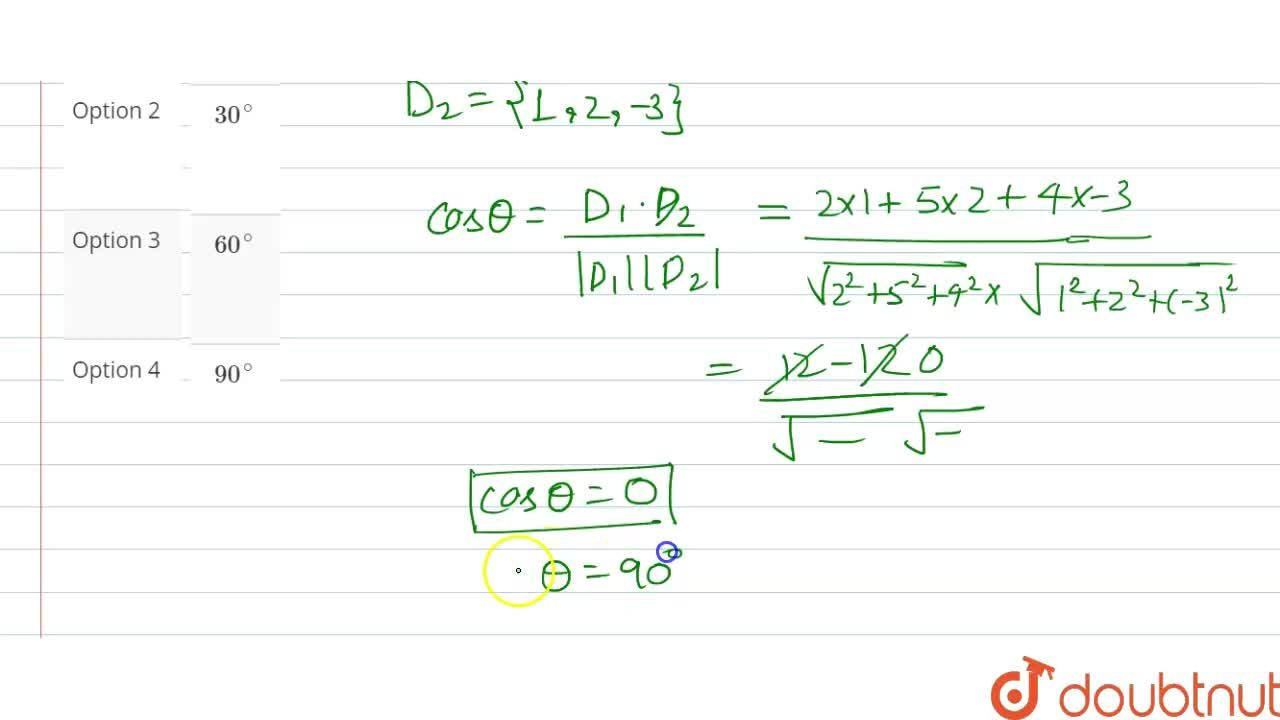 Solution for The angle between the straight lines <br> (x+1),(