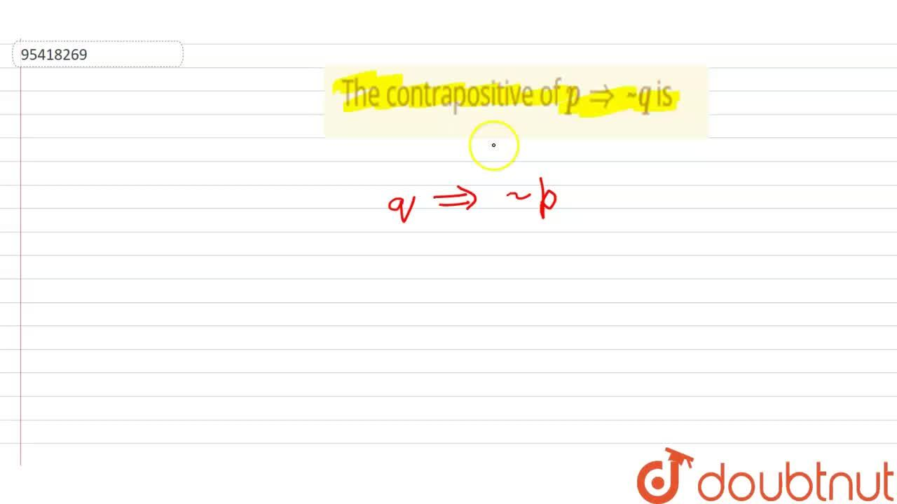 Solution for The contrapositive of p implies ~q is