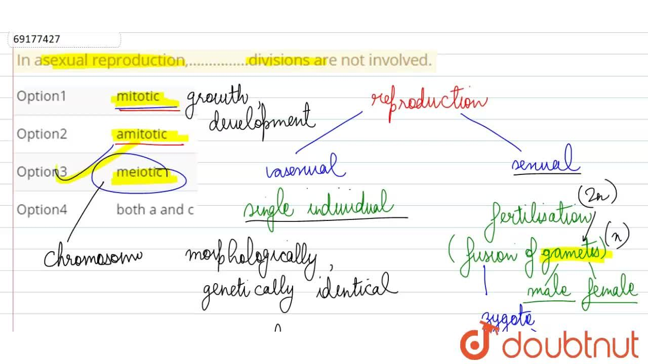 Solution for In asexual reproduction,……………divisions are not inv