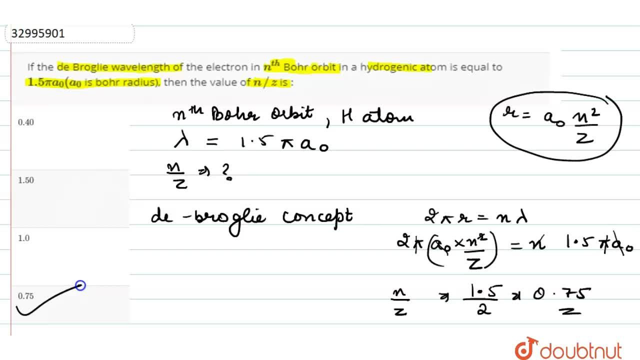 Solution for If the de Broglie wavelength of the electron in n