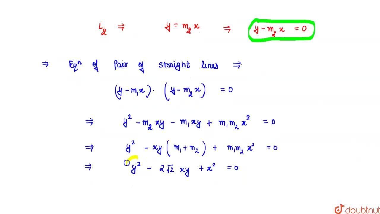 The joint equation of pair of straight lines passing through origin and having slopes (1+sqrt(2)) and ((1),(1+sqrt(2))) is
