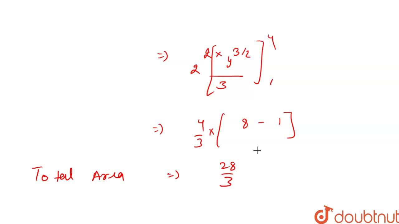 The area of the region bounded by x^(2)=4y,y=1,y=4 and the Y-axis lying in the first quadrant is . . . . . . Square units.