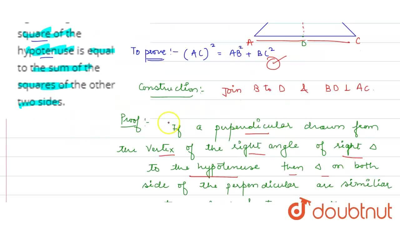 Solution for Theorem 6.8 : In a right triangle, the square of t