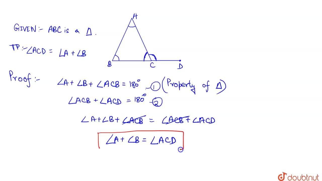 Solution for Theorem 6.8 : If a side of a triangle is produced,