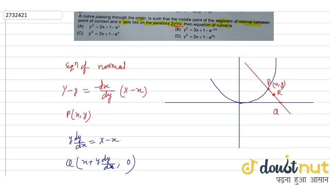 Solution for A curve passing through the origin, is such that t