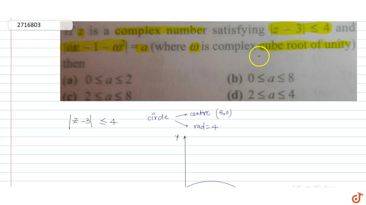Solution for If  z is a complex number satisfying  |z-3| le